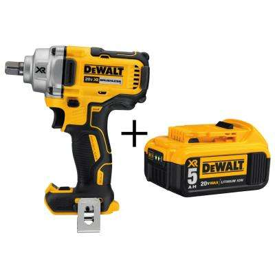 20-Volt MAX XR Lithium-Ion Cordless 1/2 in. Impact Wrench with Detent Pin Anvil with Free Premium Battery Pack 5.0 Ah