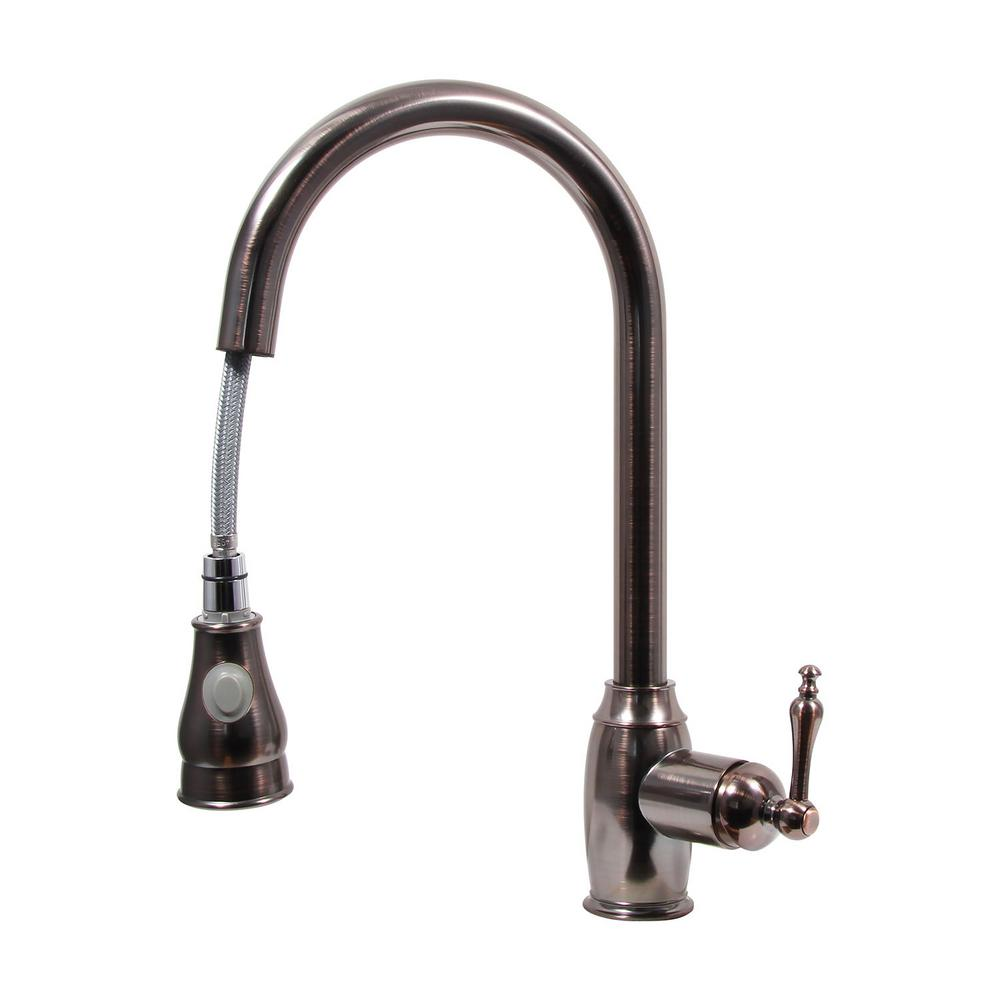 kitchen faucet oil rubbed bronze dyconn ponto platinum series single handle pull out 24673
