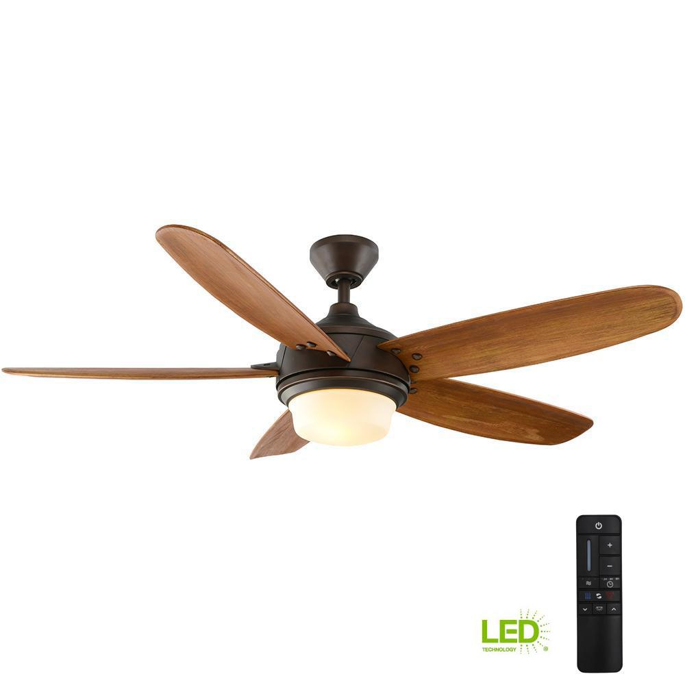 Home Decorators Collection Breezemore 56 In Led Indoor Mediterranean Bronze Ceiling Fan With Light Kit