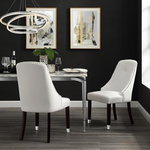 Inspired Home Cora White/Silver PU Leather Metal Tip Leg Dining Chair