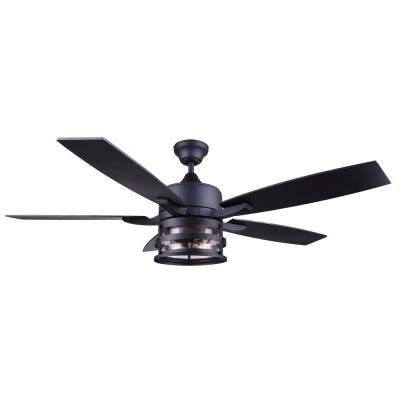 DUFFY 52 in. Indoor Matte Black Downrod Mount Ceiling Fan with Light Kit and Remote Control