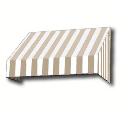 null 3 ft. San Francisco Window/Entry Awning (18 in. H x 36 in. D) in Linen/White Stripe