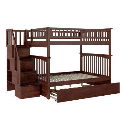 Columbia Staircase Walnut Full Over Full Bunk Bed with Twin Urban Trundle Bed