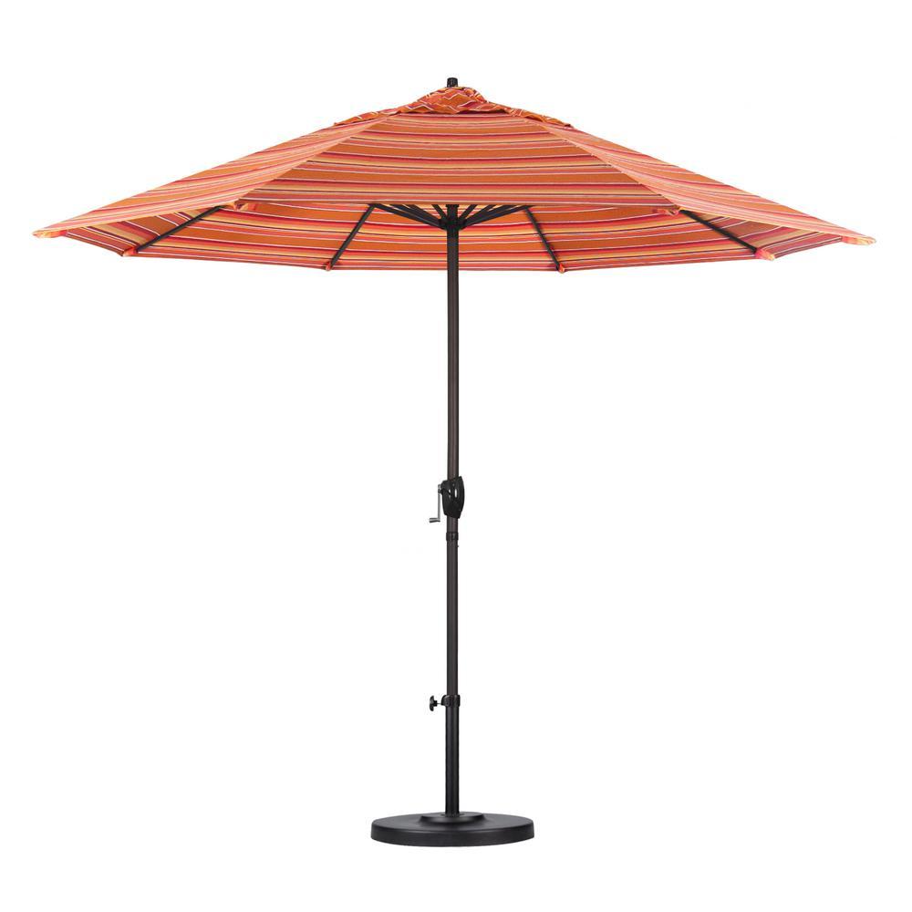 9 ft. Bronze Aluminum Pole Market Aluminum Ribs Auto Tilt Crank Lift Patio Umbrella in Dolce Mango Sunbrella