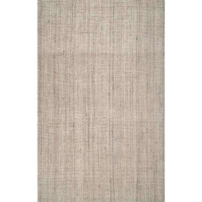 Ashli Solid Jute Off White 8 ft. x 10 ft. Area Rug
