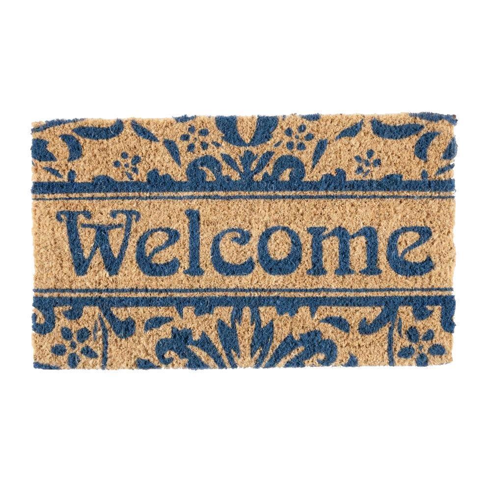Damask Welcome 18 in. x 30 in. Hand Woven Coconut Fiber Door Mat