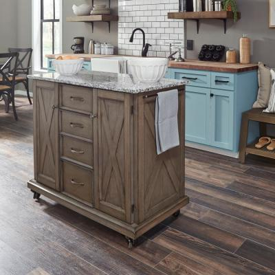 Mountain Lodge Gray Kitchen Cart with Salt and Pepper Gray Granite Top