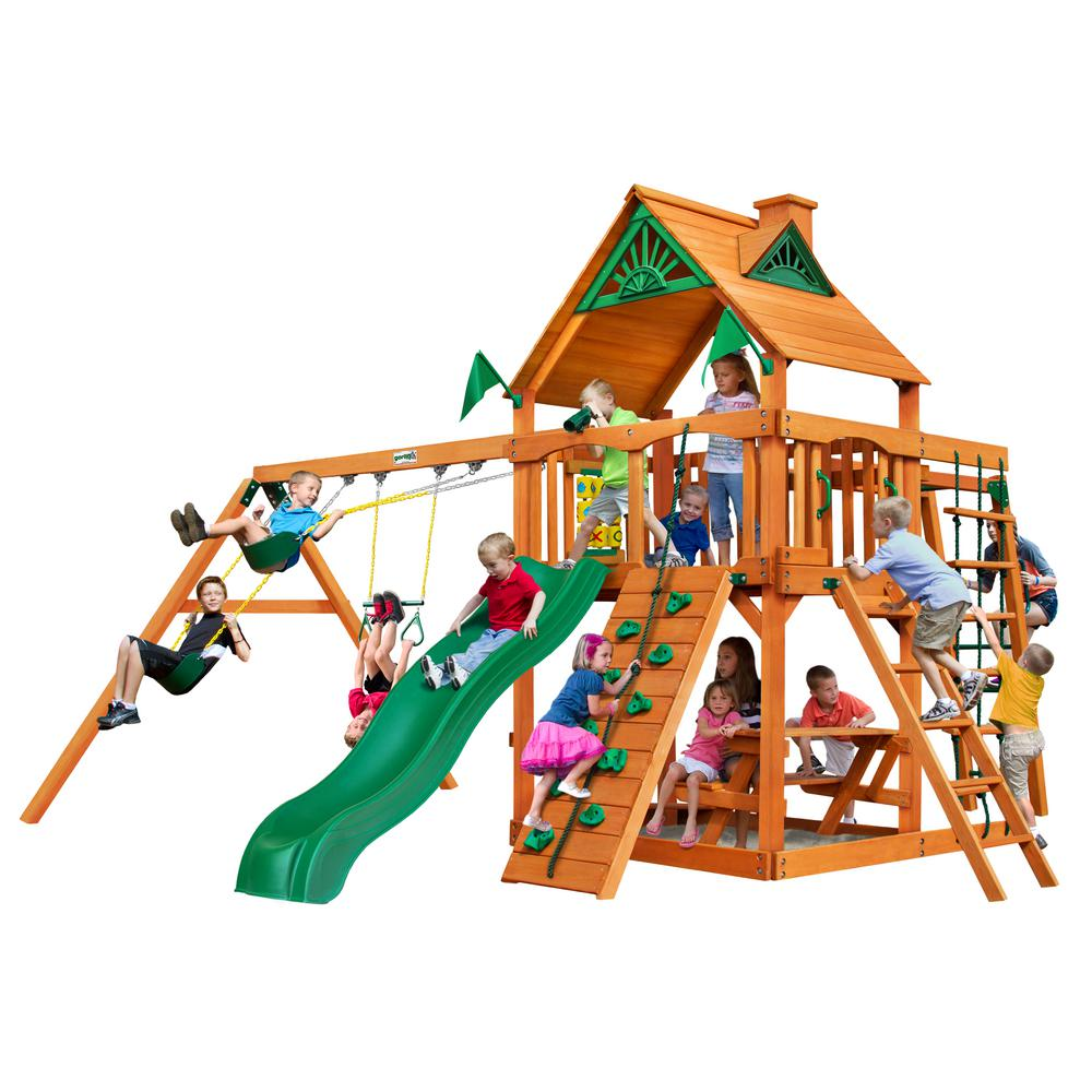 Gorilla Playsets Navigator Wooden Swing Set with Monkey Bars and Slide
