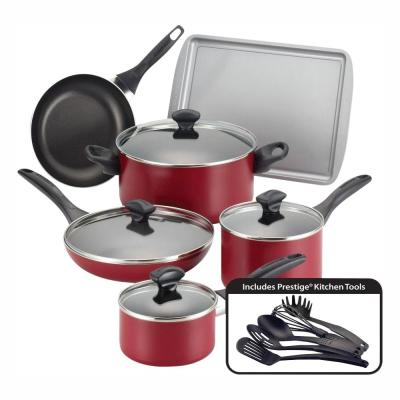 Dishwasher Safe 15-Piece Aluminum Nonstick Cookware Set in Red