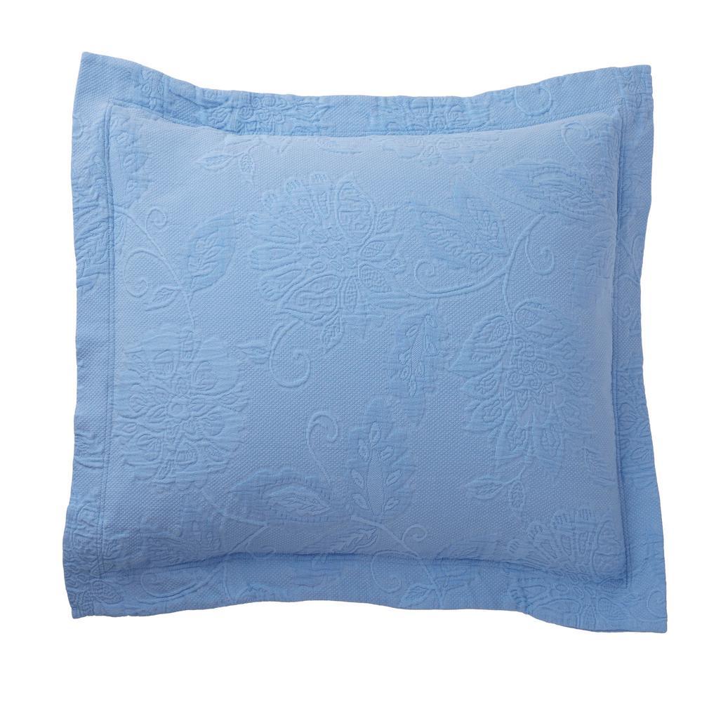 Putnam Matelasse Cornflower Blue Cotton Euro Sham