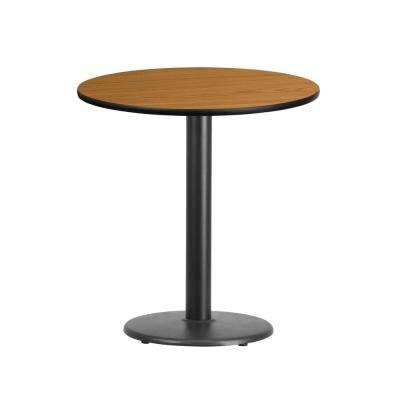 24 in. Round Black and Natural Laminate Table Top with 18 in. Round Table Height Base