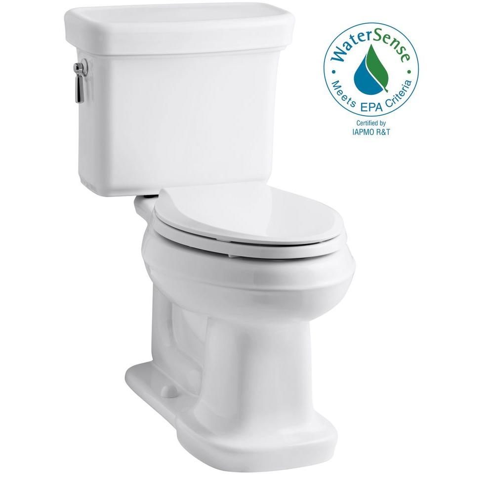 KOHLER Bancroft 2-Piece 1.28 GPF Single Flush Elongated Toilet with AquaPiston Flush Technology in White