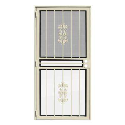 36 in. x 80 in. Rambling Rose Almond Recessed Mount All Season Security Door with Insect Screen and Glass Inserts