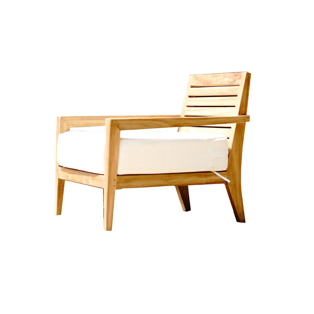 Beespoke Catalina Dahlia Teak Outdoor Oversized Lounge Chair With Cushion 8008 335 The Home Depot
