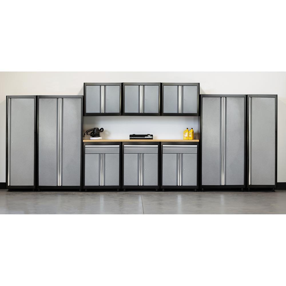 75 in. H x 210 in. W x 18 in. D Welded Steel Garage Cabinet Set in Black/Multi-Granite (11-Piece)