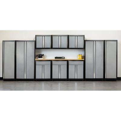 75 in. H x 210 in. W x 18 in. D Welded Steel Garage Cabinet Set in Black/Multi-Granite (11-Piece)