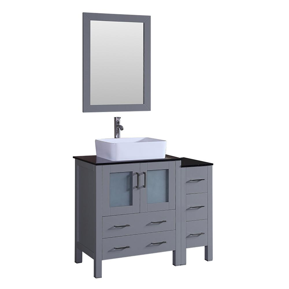 Bosconi Bosconi 42 in. Single Vanity in Gray with Vanity Top in Black with White Basin and Mirror