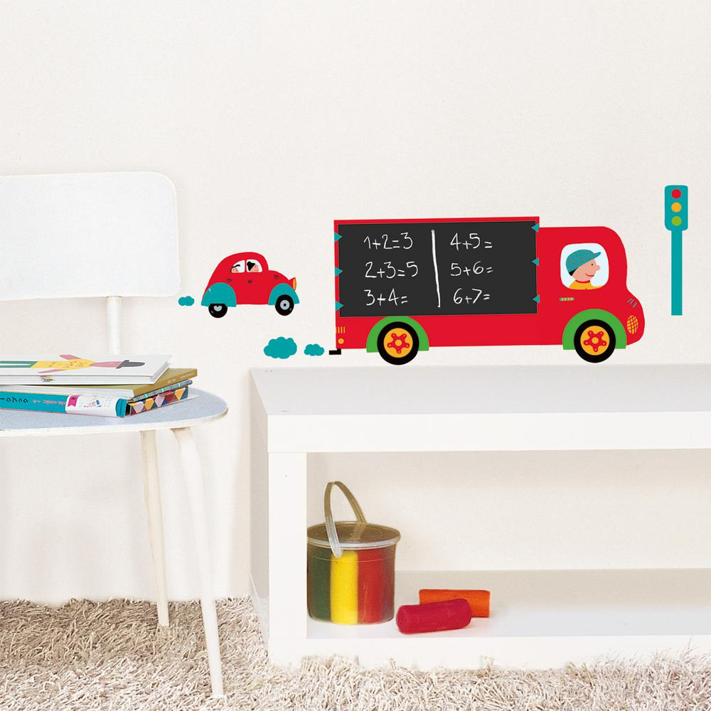 Nouvelles Images Multicolor Truck Chalk Board Wall Decal Hose 071