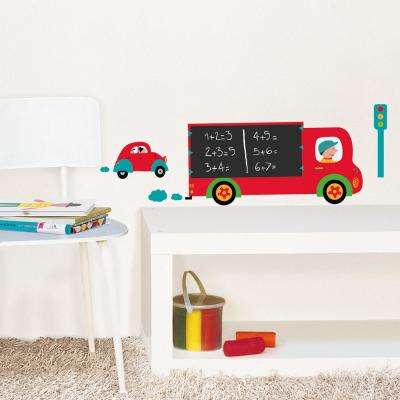 Multicolor Wall Decal Truck Chalk Board