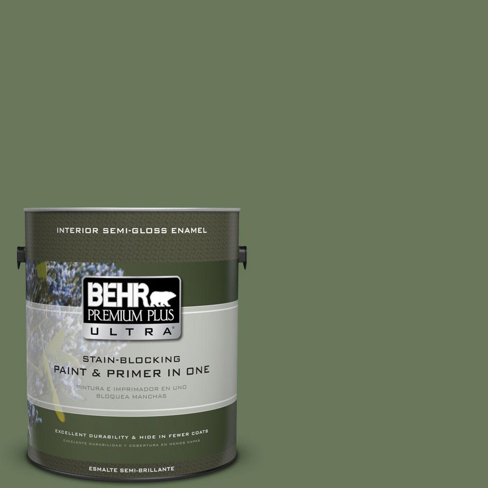 BEHR Premium Plus Ultra 1-gal. #PPU10-1 Scallion Semi-Gloss Enamel Interior Paint