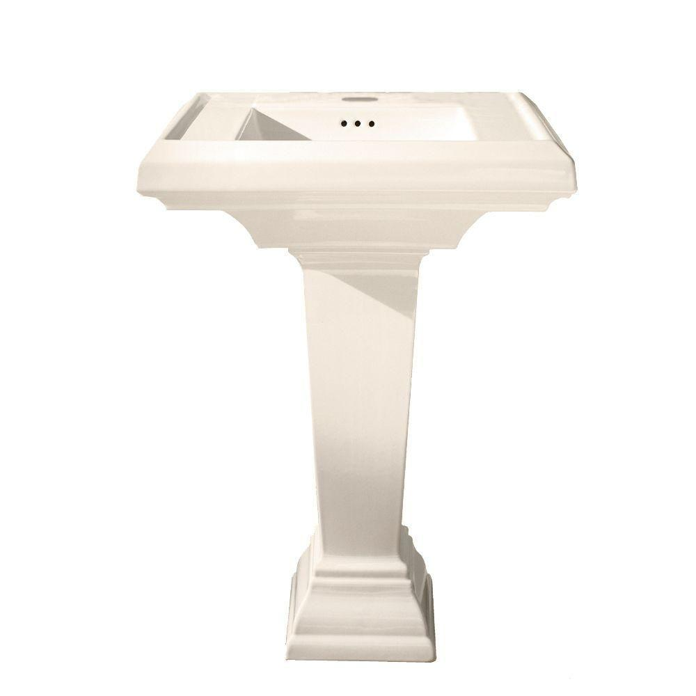 Town Square Pedestal Combo Bathroom Sink With Single Hole In Linen