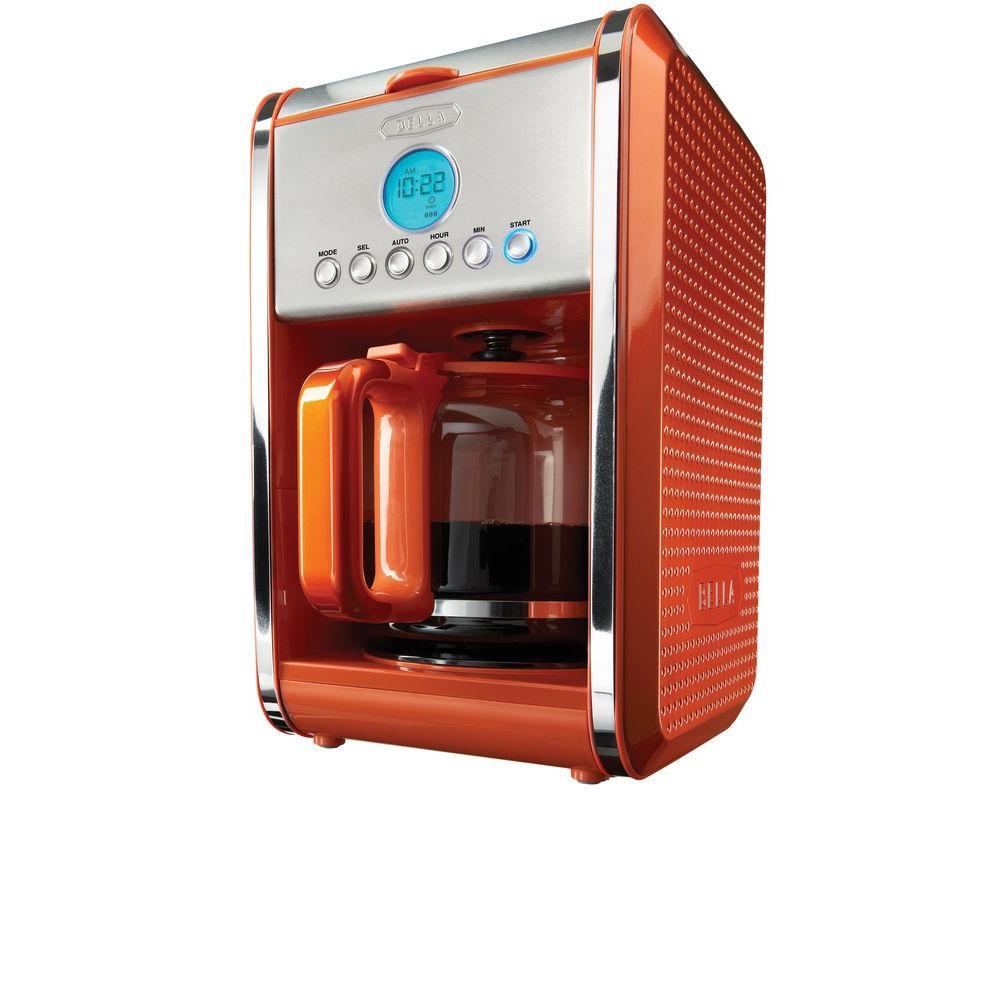 Bella Dots Programmable 12-Cup Coffee Maker in Orange