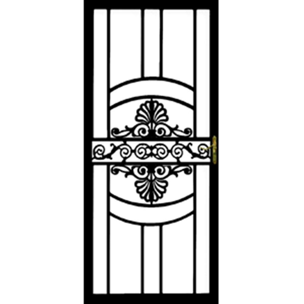 Grisham 32 in. x 80 in. 137 Series Black Hinge Left Victoria Security Door with Self-Storing Glass Feature