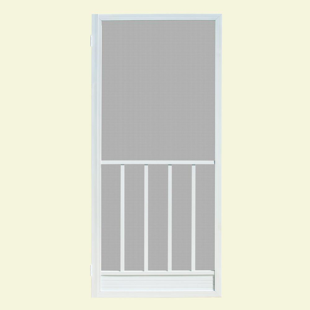 Unique Home Designs 32 in. x 80 in. Coronado White Outswing Metal Hinged Screen Door