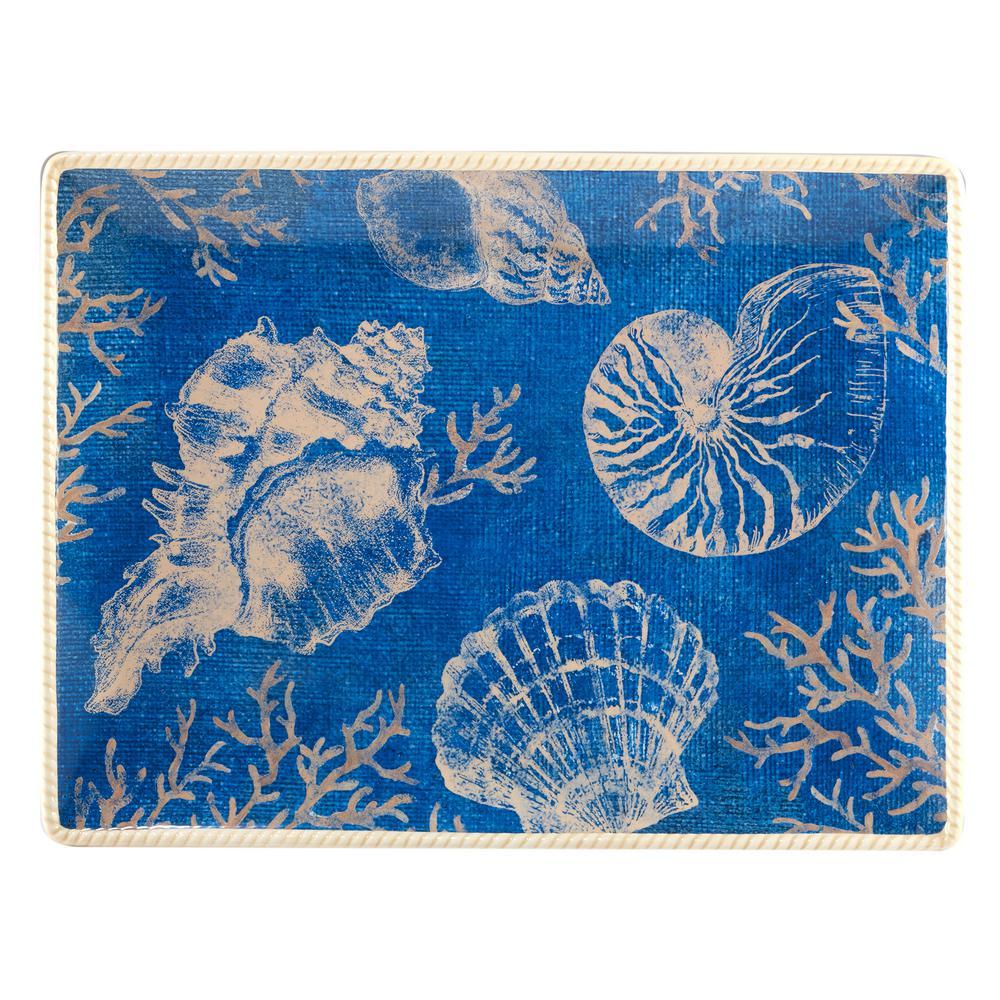 Seaside Multi-Colored 16 in. x 12 in. Ceramic Rectangular Platter