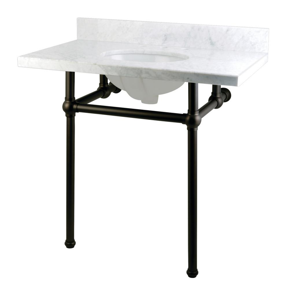 Kingston Br Washstand 36 In Console Table Carrara White With Metal Legs Oil Rubbed Bronze