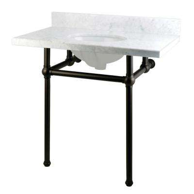 Washstand 36 in. Console Table in Carrara White with Metal Legs in Oil Rubbed Bronze