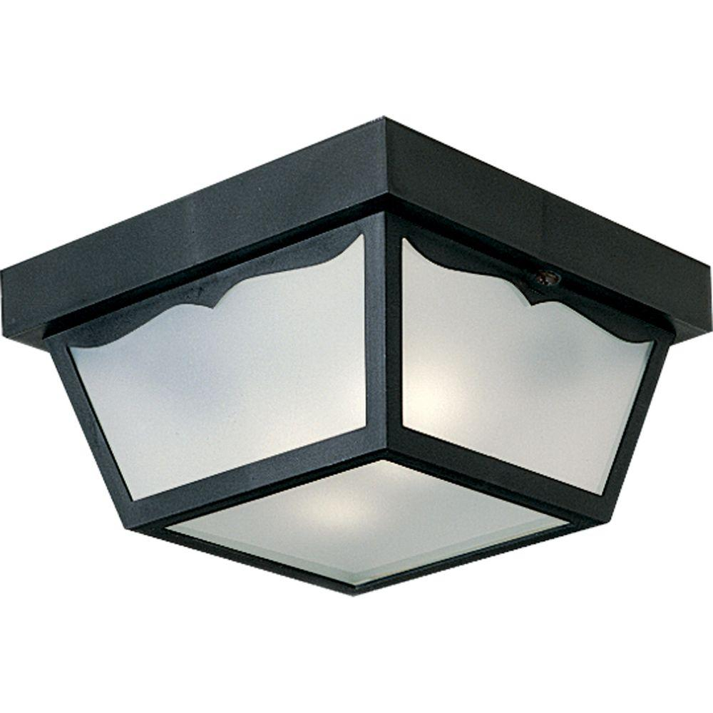 Lovely Ceiling Mount Outdoor Light Part - 11: Progress Lighting 2-Light Black Outdoor Flushmount-P5745-31 - The Home Depot