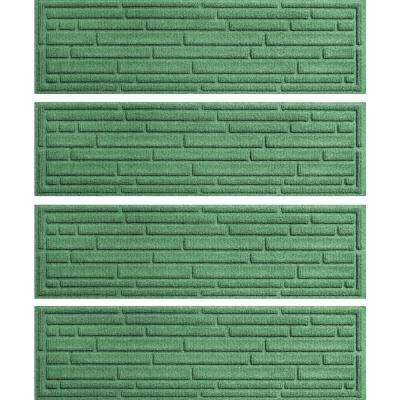 Light Green 8.5 in. x 30 in. Broken Brick Stair Tread Cover (Set of 4)