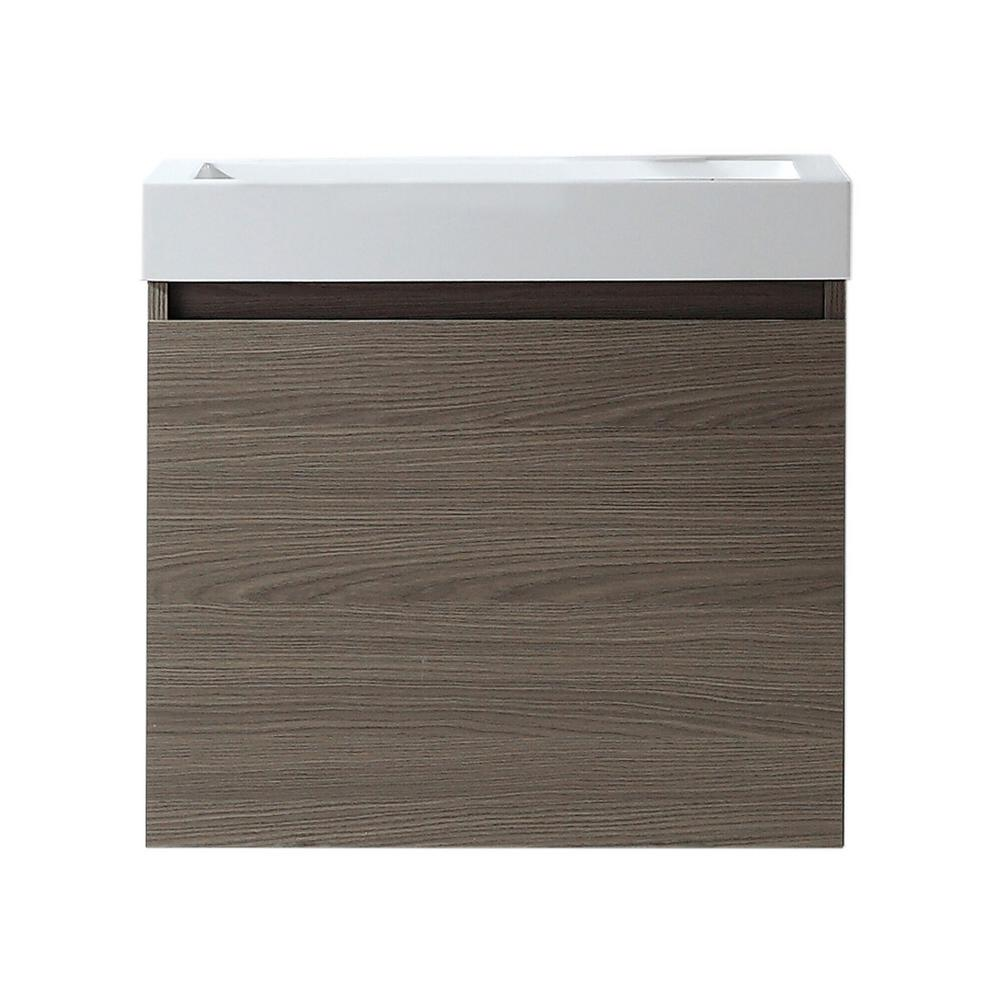 Virtu USA Zuri 24 in. W Bath Vanity in Gray Oak with Polymarble Vanity Top in White Polymarble with Square Basin
