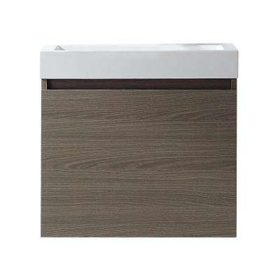 Zuri 24 in. W Bath Vanity in Gray Oak with Polymarble Vanity Top in White Polymarble with Square Basin