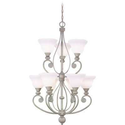 Kyoto 9-Light Interior/Indoor Platinum Rust Hanging Chandelier with White Ribbed Cased Glass Bell Shades