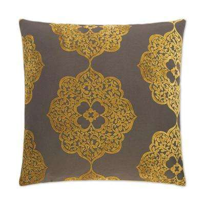 Maison Square Gold Feather Down 24 in. x 24 in. Standard Decorative Throw Pillow