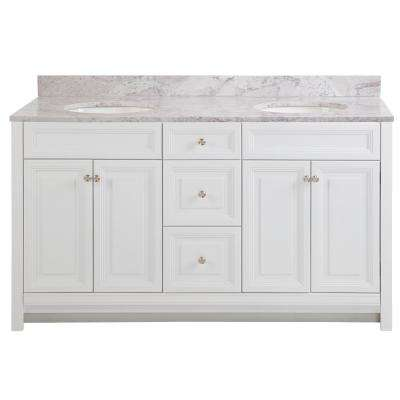 Brinkhill 61 in. W x 22 in. D Bathroom Vanity in White with Stone Effect Vanity Top in Winter Mist with White Sink