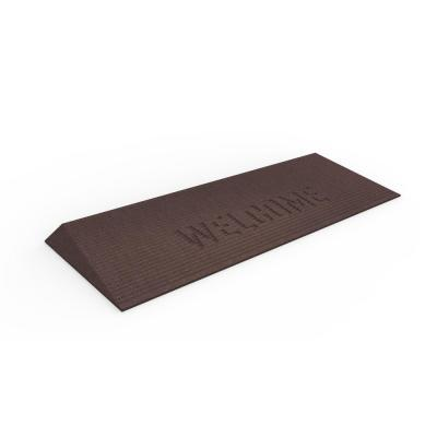 TRANSITIONS Brown 40 in. W x 14 in. L x 1.5 in. H Rubber Angled Entry Door Threshold Welcome Mat