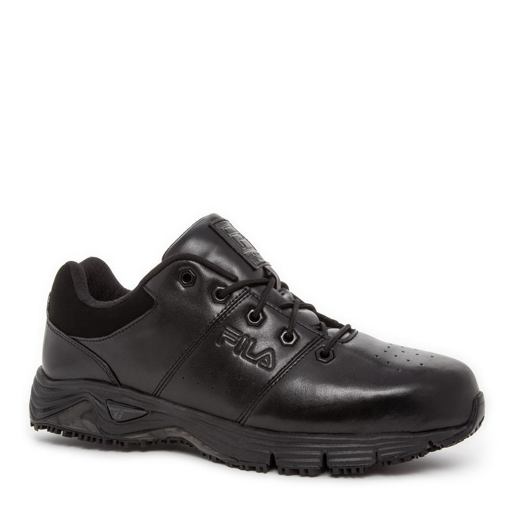 Memory Breach Men Size 9.5 Black Leather/Synthetic Steel Toe Work Shoe