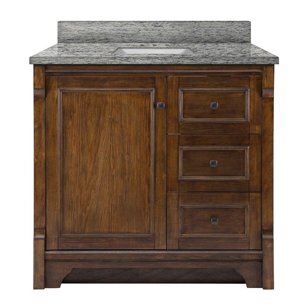 Creedmoor 37 in. W x 22 in. D Vanity in Walnut with Granite Vanity Top in Santa Cecilia with White Sink