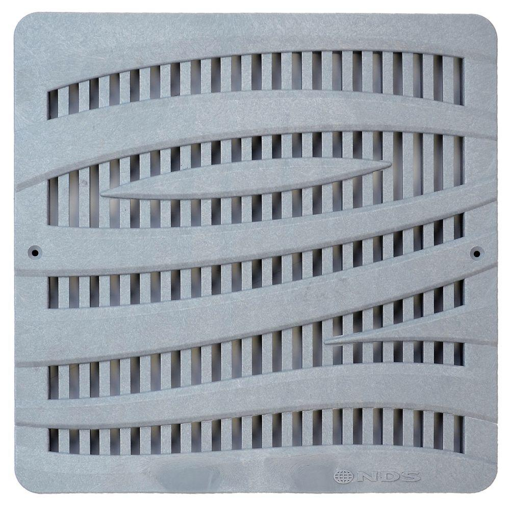 12 in. Plastic Wave Design Square Decorative Grate in Gray