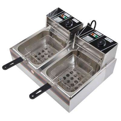 LS-82 5KW 60Hz Home Use Parallel Bars Electric Fryer Set 110V Silver Gray & Black