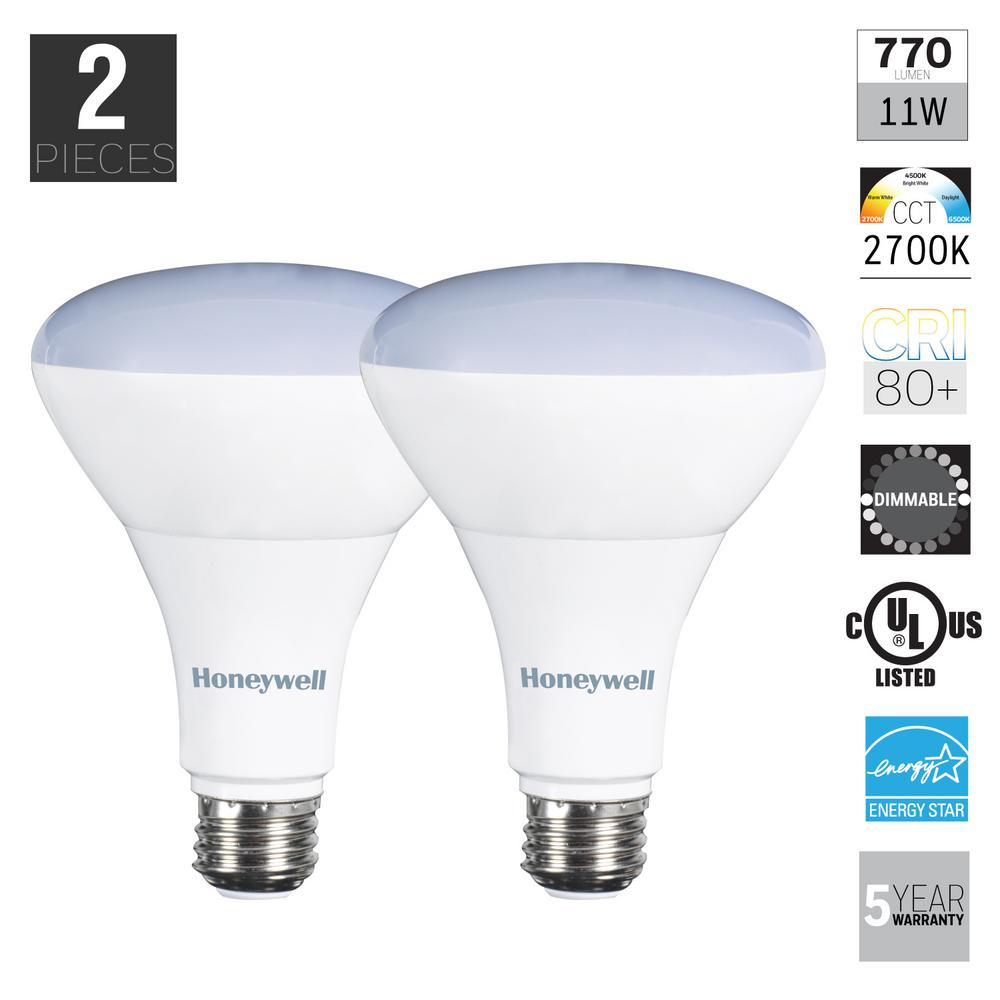 Honeywell 65W Equivalent Warm White BR30 Dimmable Led Light Bulb (2-Pack)