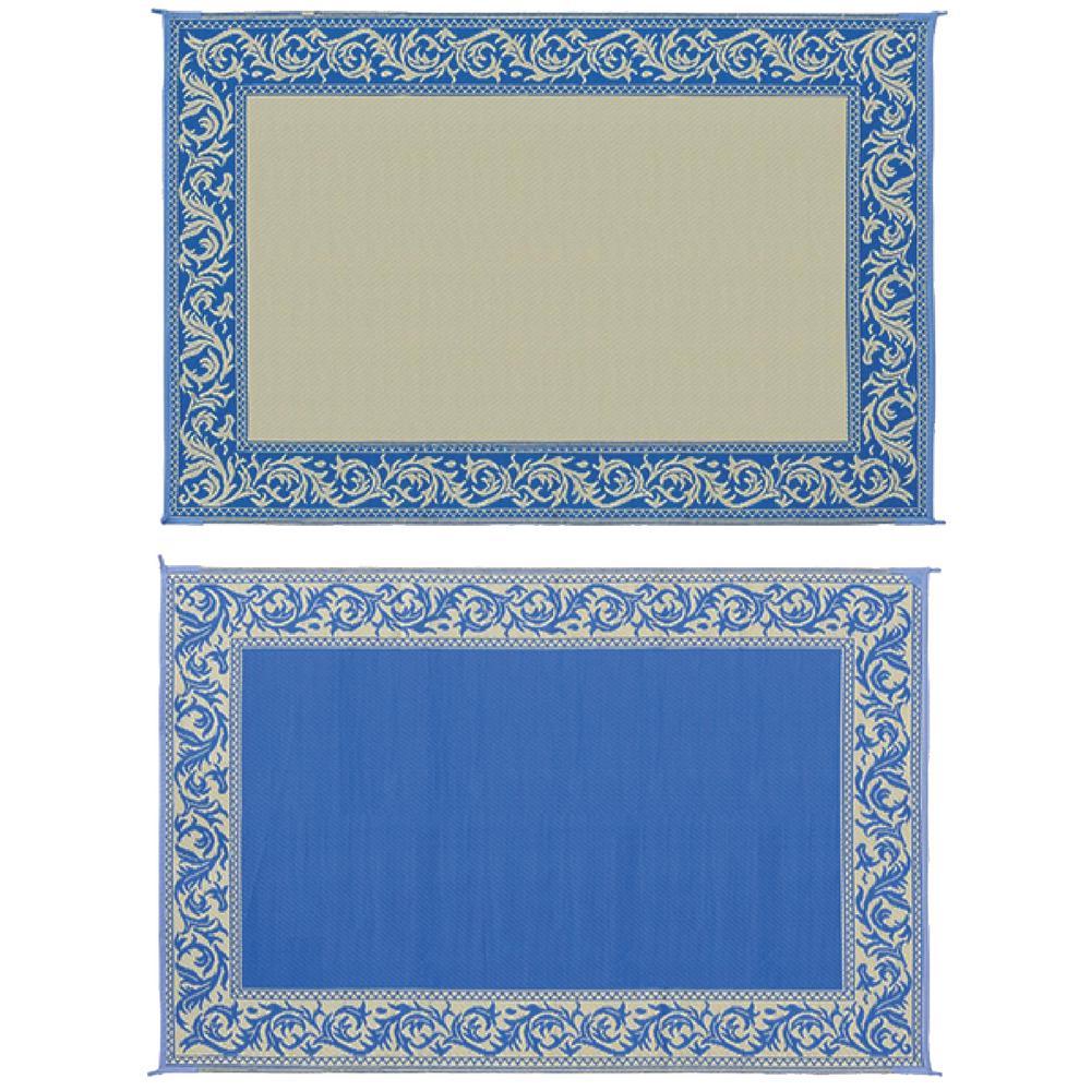 6 ft. X 9 ft. Classical Blue/Beige Reversible Mat