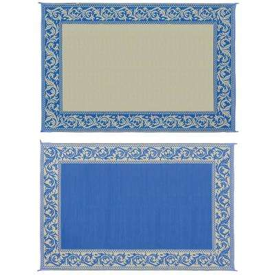 6 ft. X 9 ft. Classical Blue/Beige Reversible Mat