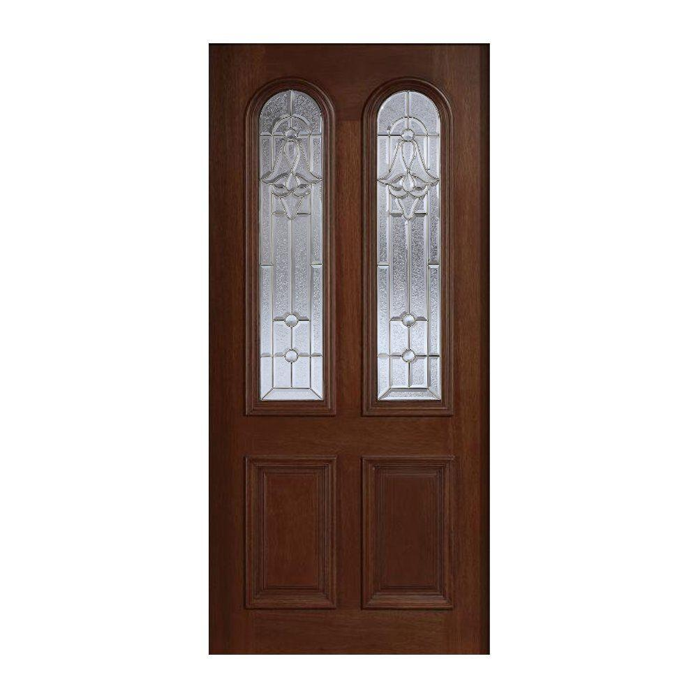 Main Door 36 in. x 80 in. Mahogany Type Prefinished Antique Beveled Zinc Twin Arch Glass Solid Stained Wood Front Door Slab