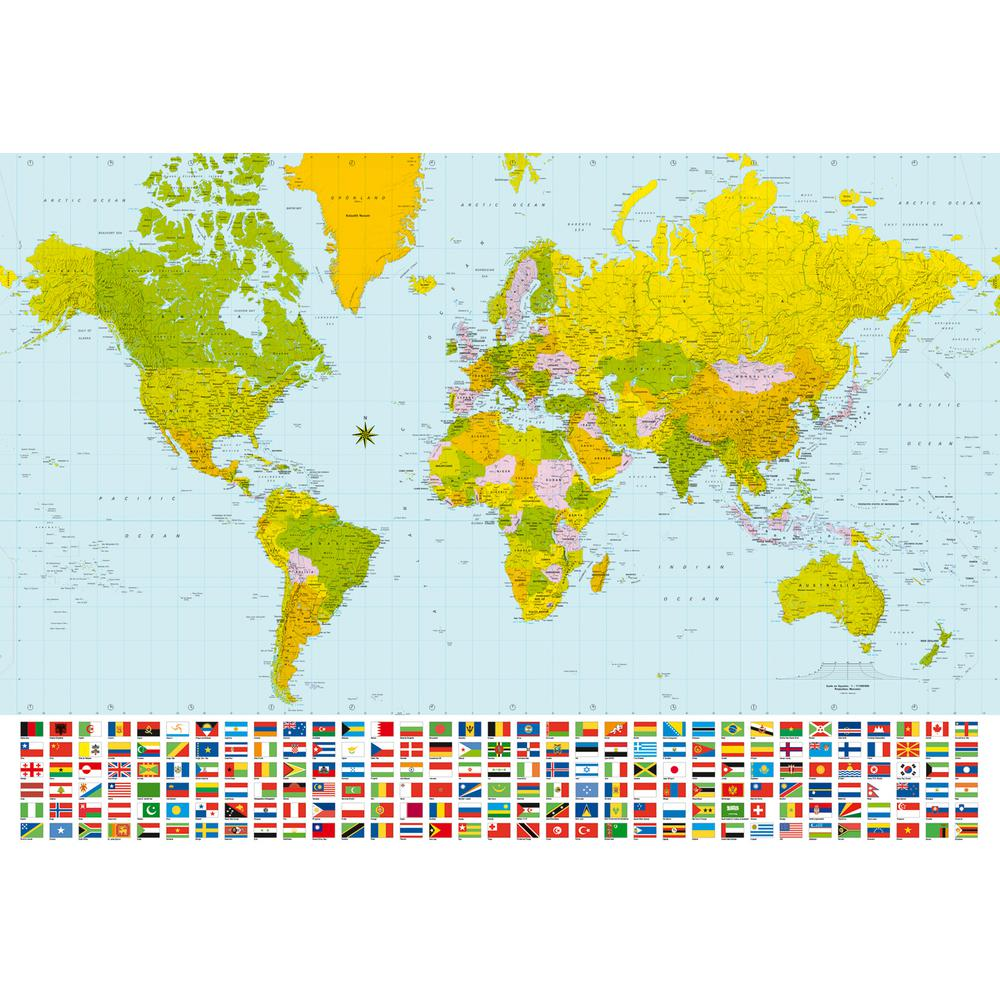 Ideal Decor 100 in. x 144 in. Map of The World Wall Mural-DM280 ...