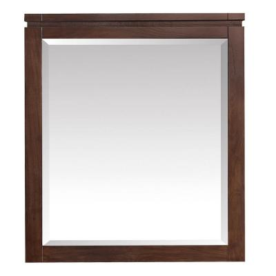 Giselle 29 in. x 32 in. x 24 in. Framed Wall Mirror in Natural Walnut