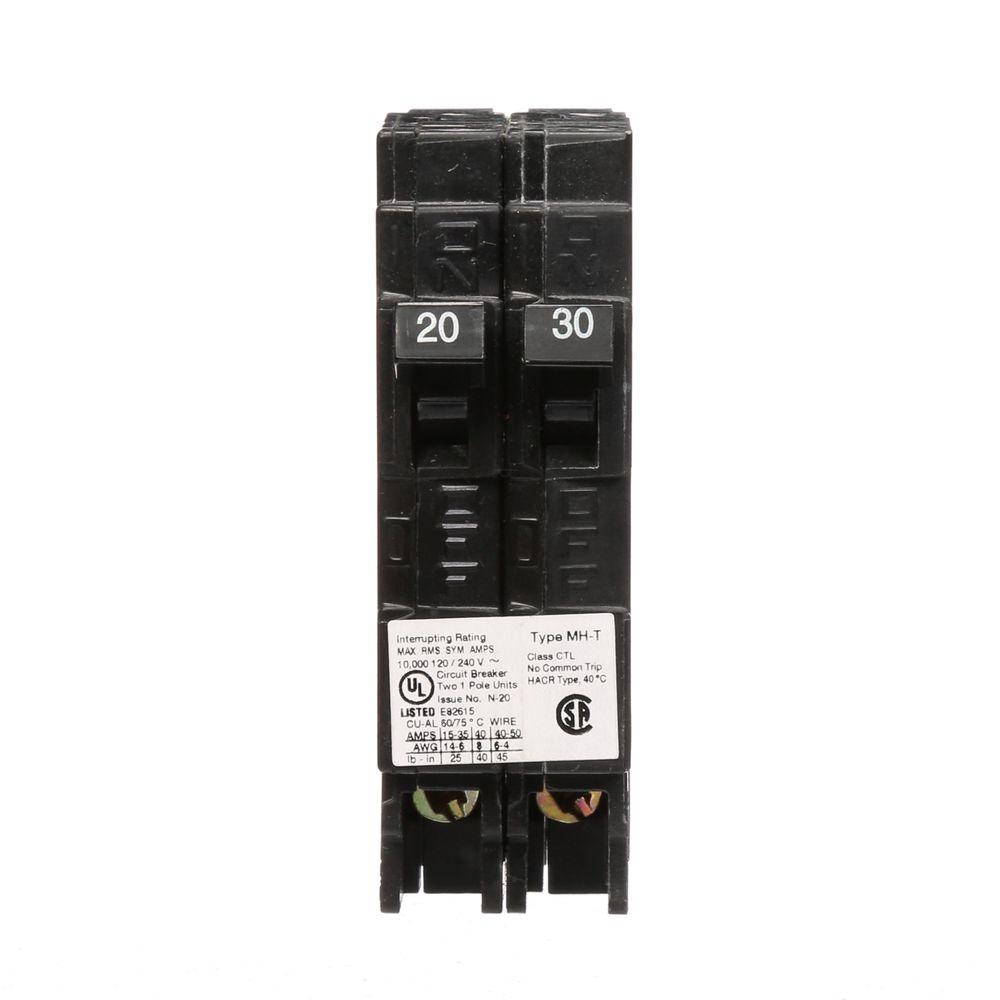 20/30 Amp Single Pole Tandem Type MH-T Plug-In Circuit Breaker
